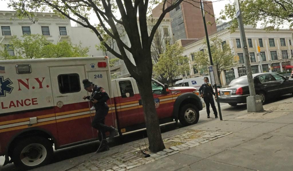 FDNY ambulance crew, Harlem, NYC 4/14/2020